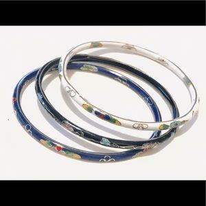 Set of Three Vintage Cloisonné Bangle Bracelets